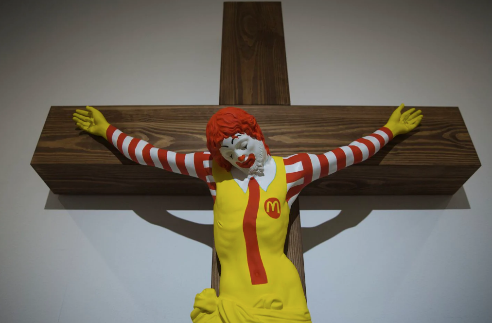 Ronald McDonald on a Cross