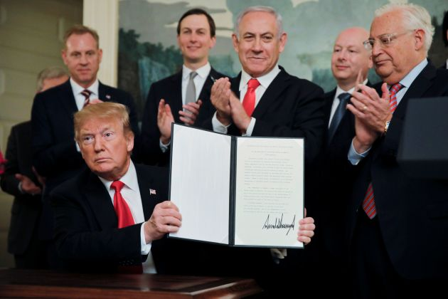 President Trump signing recognition of Golan Heights